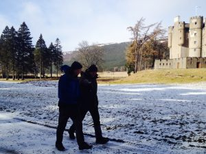 Roy Starkey and Mark Stephen walking in to Braemar Castle 03 March 2015 - Copyright Laura McMeekin