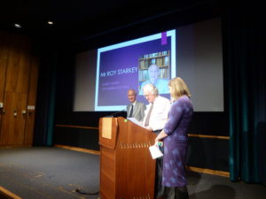 Left to right - Roy Starkey, Brian Marsh OBE and Prof. Sarah Russell in the Flett Lecture Theatre at the Natural History Museum, London. Photo courtesy of Dr Martha Richter